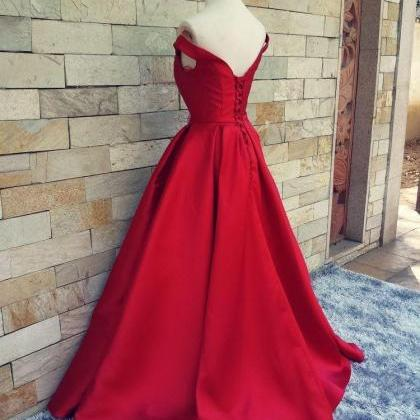 Red Satin A Line Formal Dresses Fea..