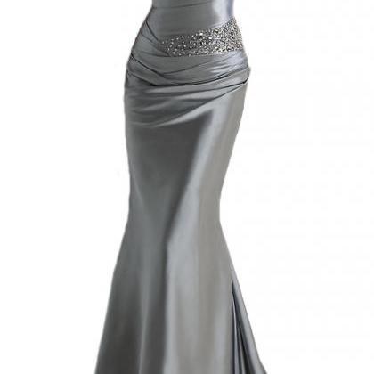 Gray Sweetheart Ruched Beaded Satin..