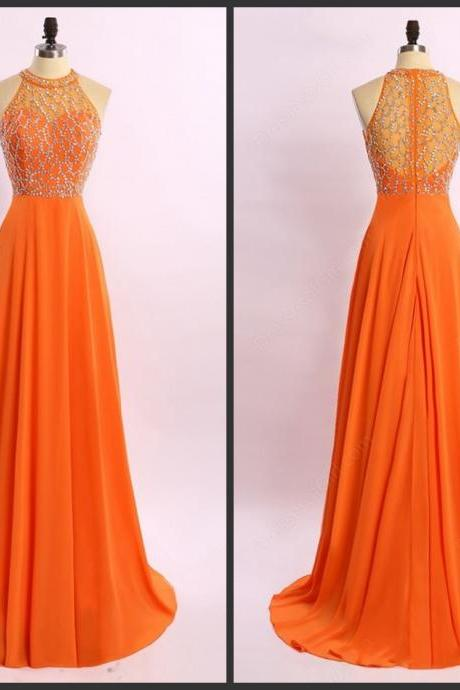 Sexy Halter Orange Chiffon Bridesmaid Dresses,Elegant Long Beaded Formal Dresses, Wedding Party dresses, New Arrival Evening Gowns