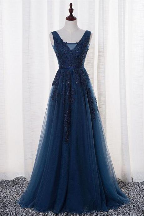 Navy Blue Floor Length Tulle Prom Dresses Featuring Lace Bodice And Open Back,Long Elegant Evening Formal Gowns