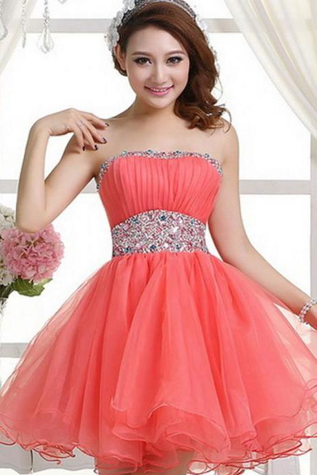 Watermelon Red Organza Short Bridesmaid Dresses, Mint Sweetheart Prom Dresses, Cheap Party dresses, Sexy Formal Gowns
