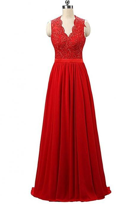 Stunning V Neck Red Chiffon Bridesmaid Dresses,Elegant Long Backless Formal Dresses, Wedding Party dresses, New Arrival Evening Gowns