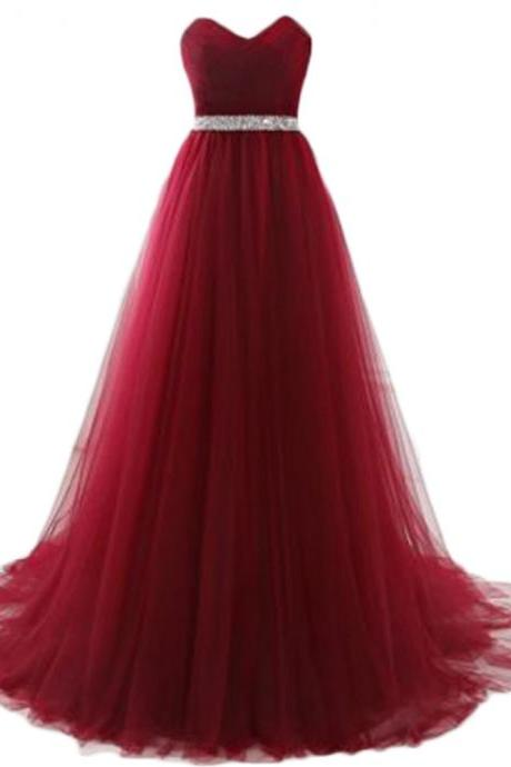 Elegant Long Burgundy Tulle Prom Dresses Featuring Plunge V And Beaded Bodice Floor Length Evening Formal Gowns