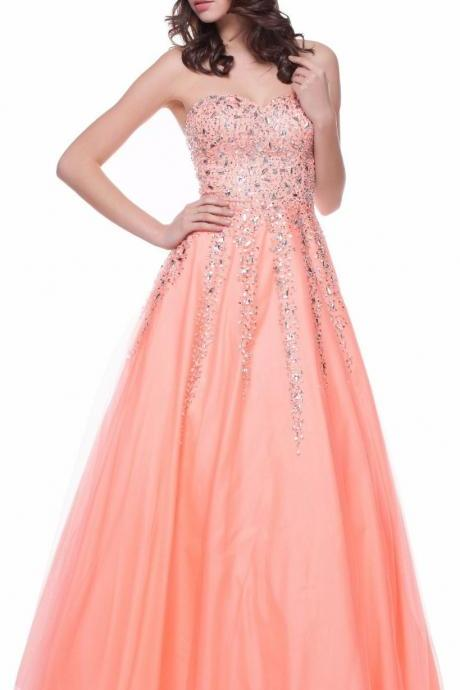 Luxury Coral Prom Dresses Long Elegant Tulle Beaded Evening Gowns - Formal Dresses, Party Dress