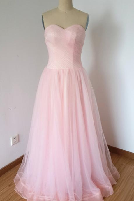 Long Pink Tulle Prom Dresses Featuring Sweetheart Neckline ,Floor Length Sweetheart Strapless Evening Dresses Formal Gowns