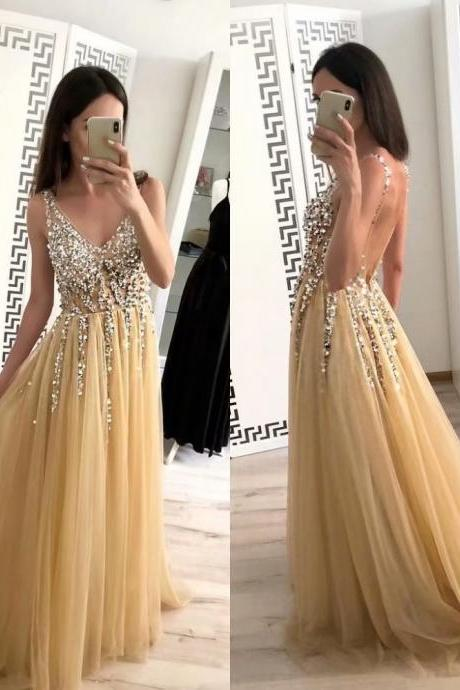 Sexy Champagne Prom Dresses 2019 Backless Beaded Tulle Beaded Long V Neck Evening Dress