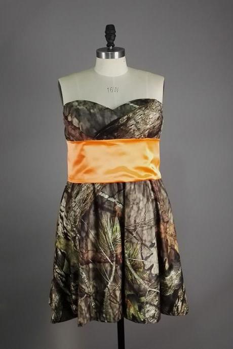Camo Sweetheart Homecoming Dresses Satin Strapless Short Gowns --Mini Dresses,Short Party Dresses