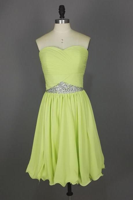 Light Green Beaded Short Prom Dresses, Strapless Sweetheart Chiffon Homecoming Dresses ,Mini Dresses,Short Party Dresses,Cocktail Dresses