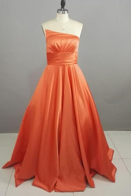 2016 100% Real Photo Orange Satin Wedding Dresses Bridal Dresses,High Quality Floor Length Simple Strapless Wedding Gowns