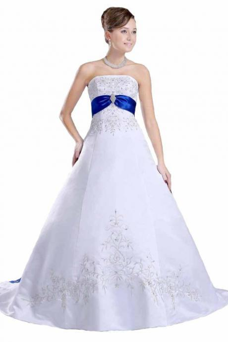 2016 Royal Blue Satin Embroidered Wedding Dresses Chapel Train Bridal Dresses,Long Beaded Strapless Wedding Gowns