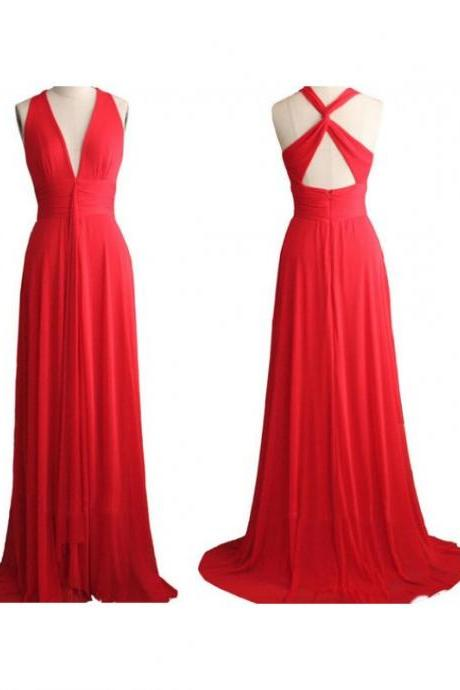 Red Deep V Neck Backless Cross Back Formal Dresses,Floor Length Simple Chiffon Prom Dresses,