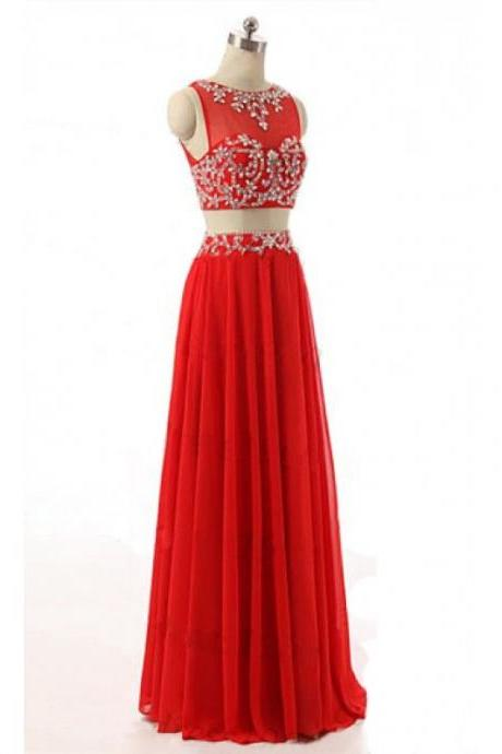 Red Two Piece Prom Dresses Illusion Neckline Beaded Rhinestones Embellished Chiffon Evening Gowns With Cross Back - Formal Dresses, Party Dress