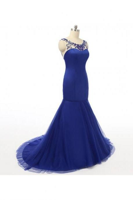 Sexy Mermaid Royal Blue Prom Dresses Sheer Neck Satin Bodice Tulle Skirt Beaded Backless Evening Gowns- Formal Dresses, Party Dress