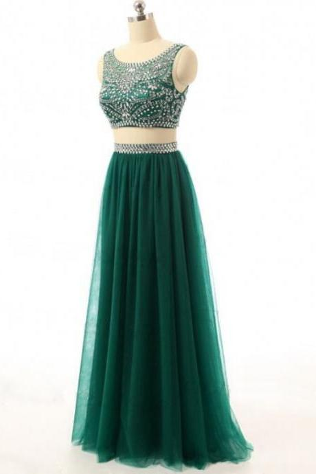 Sexy Two Piece Dark Green Beaded Prom Dresses,Luxury Sheer Neck Crystal Beaded Embellished Formal Dresses