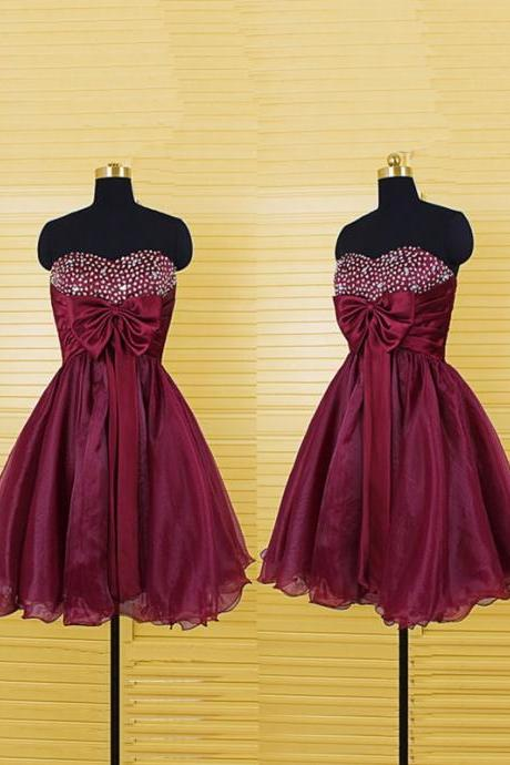 Burgundy Short Prom Dresses Beaded Sweetheart Organza Homecoming Dresses