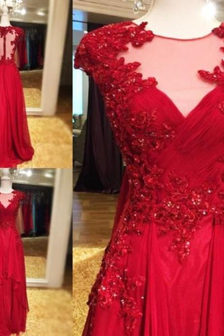 Charming Red Illusion Jewel Neckline Prom Gowns Cap Sleeve Chiffon See Thougth Back Lace Appliques Formal Dresses