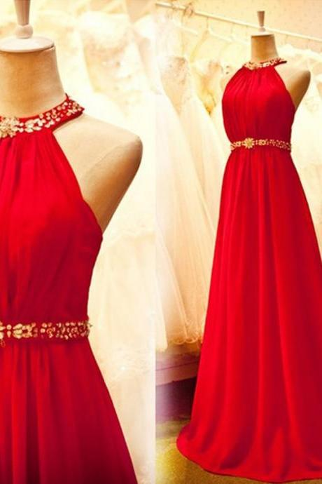 Stunning Court Train A Line Halter Red Beaded Chiffon Prom Dresses