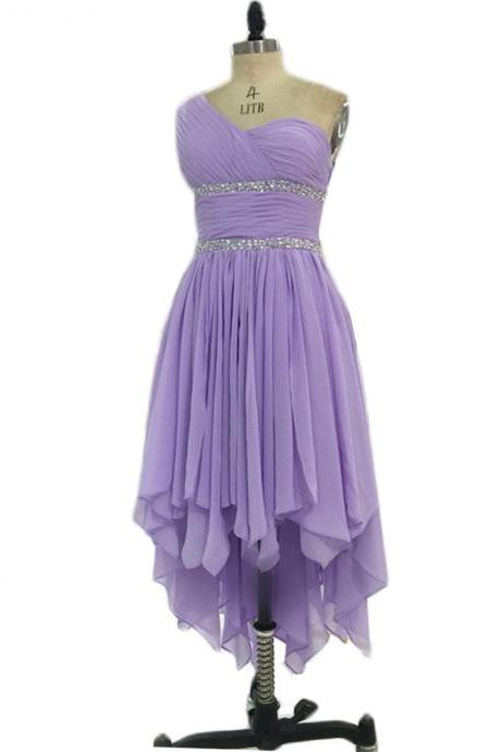 High Low Prom Dresses,One Shoulder Prom Gowns,Lavender Prom Dress,Chiffon Prom Dress,Ruched Dress, Party Dress, Formal Dresses