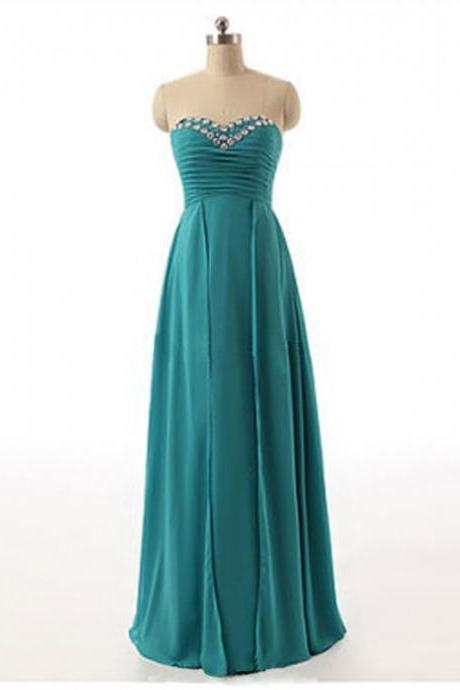 Rhinestones Sweetheart Turquoise Chiffon Bridesmaid Dresses, Floor Length Elegant Chiffon Prom Dresses, Wedding Party dresses,Formal Gowns
