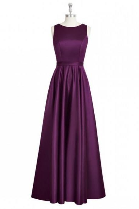 Charming Grape Purple Satin Backless Scoop Bridesmaid Dresses, Simple Ruched Long Formal Dresses, Wedding Party dresses,2017 Evening Gowns