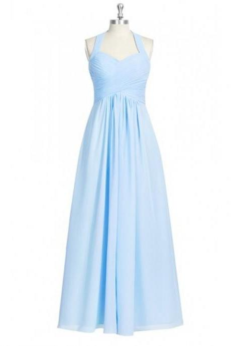 Charming Light Blue Halter Neckline Chiffon Bridesmaid Dresses, Simple Ruched Long Formal Dresses, Wedding Party dresses, New Arrival Evening Gowns