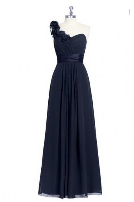Junoesque Floral Dark Navy One Shoulder Chiffon Bridesmaid Dresses, Simple Long Ruched Formal Dresses, Wedding Party dresses, New Arrival Evening Gowns