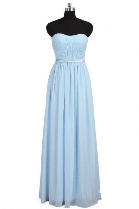 Light Blue Chiffon Long Bridesmaid Dress Featuring Ruched Sweetheart Bodice
