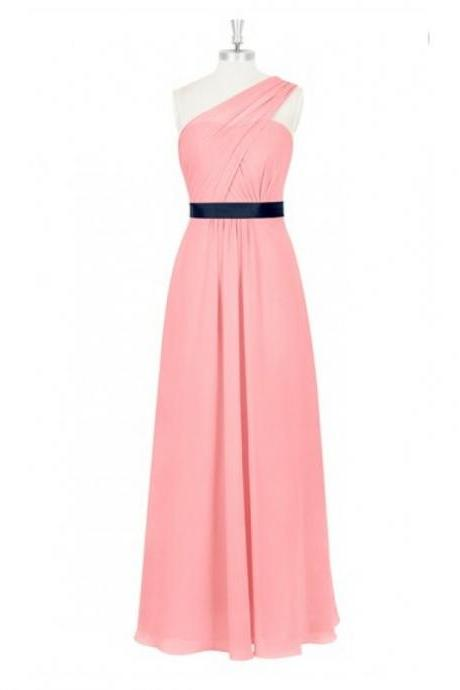 One Shoulder A Line Pink Chiffon Bridesmaid Dresses With Black Belt