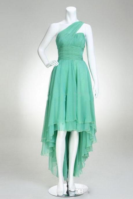 Seyx Mint Green Prom Gowns High Low One Shoulder Ruched Chiffon Formal Dresses