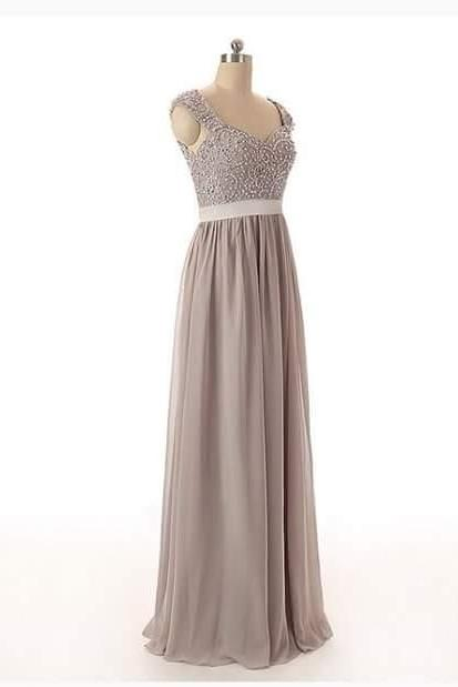 Elegant Long V Neck Gray Prom Dresses Long Chiffon Beaded Backless Evening Party Gowns