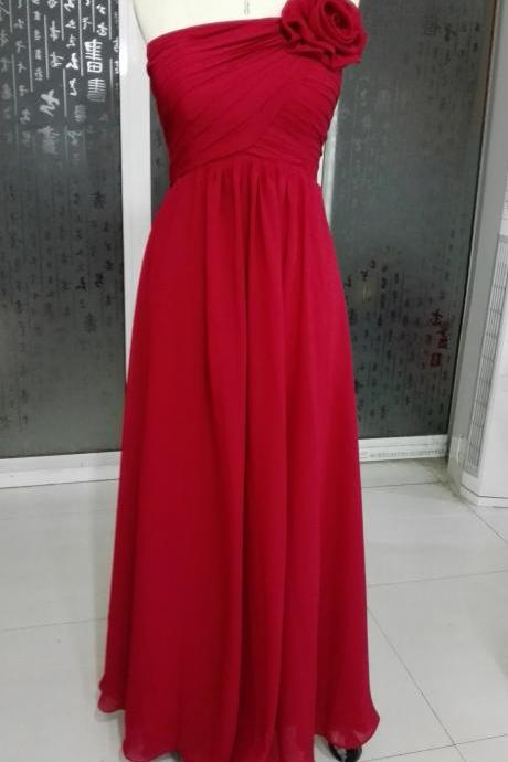 Elegant Long Burgundy Floral One Shoulder Prom Dresses Long Chiffon Ruched A Line Evening Party Gowns