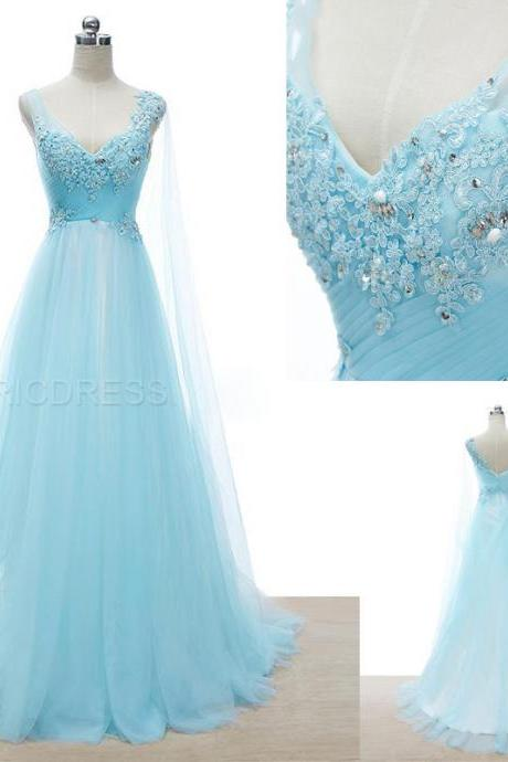Lace Appliqué Light Blue Prom Dresses Featuring V Neck Beaded Floor Length A Line Evening Gowns
