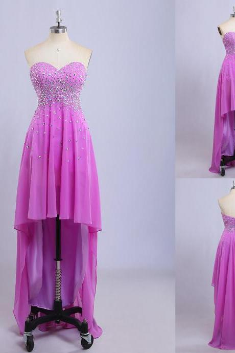 Pink Chiffon High Low Formal Dresses Featuring AB Stones And Sweetheart Neckline - Prom Dresses,Party Dress