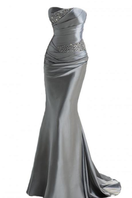Gray Sweetheart Ruched Beaded Satin Mermaid Long Prom Dress, Evening Dress, Party Dress Featuring Lace-Up Back