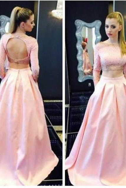 Sexy Long Pink Backless Two Piece Prom Dresses With Long Sleeve Satin Bateau Neckline Beaded Evening Gowns