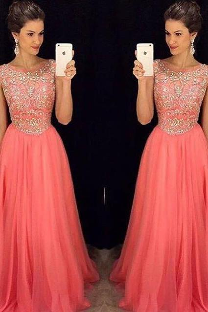 Coral Floor Length Rhinestones Beaded Chiffon Prom Dresses Featuring Sheer Bateau Neckline Long Elegant Evening Formal Gowns