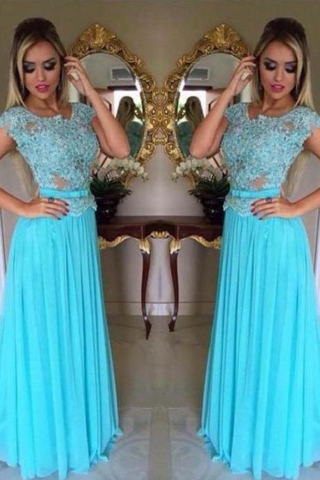 Light Blue Floor Length Chiffon Prom Dresses Featuring Lace Bodice And Sheer Neck,Bow Accent Belt Long Elegant Evening Formal Gowns