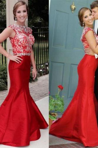Red Floor Length Taffeta Mermaid Prom Dresses Featuring Beaded Bodice And Sheer Bateau Neckline Long Elegant Party Formal Gowns