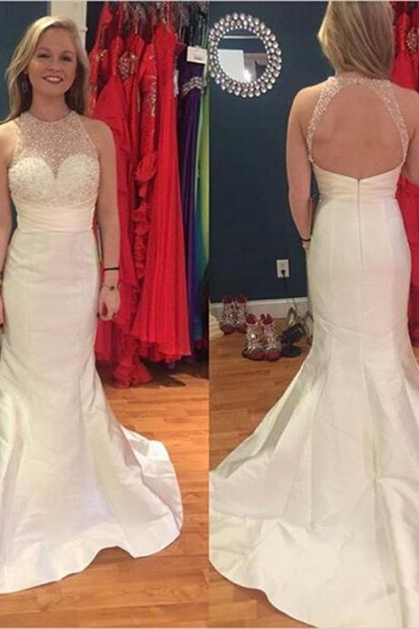 Strapless White Mermaid Prom Dresses With Ruched Beaded Bodice Floor Length Satin Formal Dresses