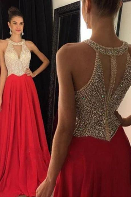 Brilliant Chiffon Red A Line Prom Gowns, Red Prom Dresses With Keyhole,A Line Prom Dress 2016