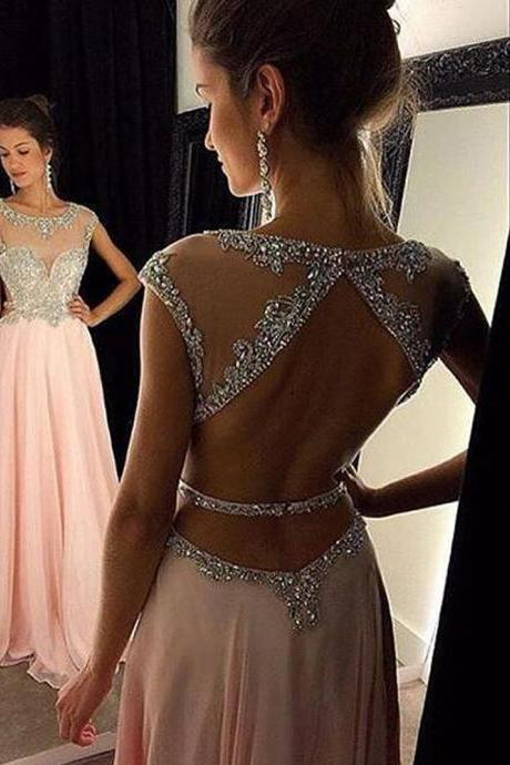Sexy Women Strapless Beaded Formal Dresses Pink Chiffon Evening Party Gonws With Open Back