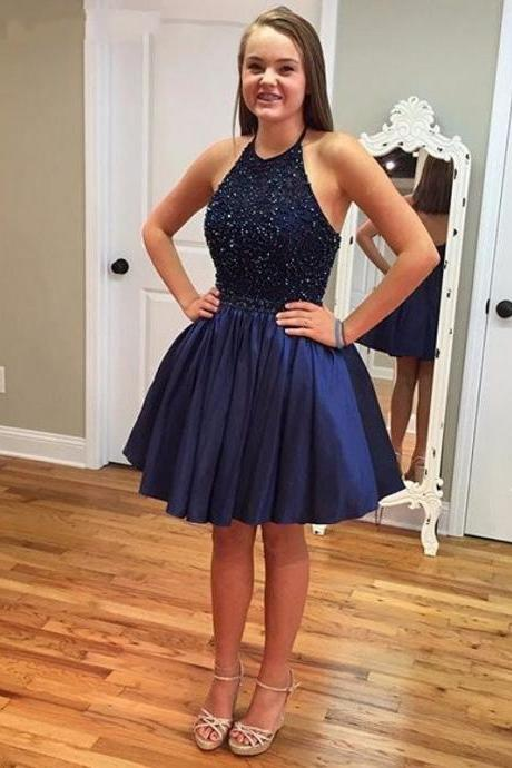 Sparkly Navy Blue Homecoming Dresses,Short Prom Dresses,Halter Neckline Beaded Taffeta Mini Dresses