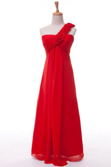 Charming Red Chiffon Floral One Shoulder Bridesmaid Dresses, Simple Ruched Long Formal Dresses, Wedding Party dresses,2017 Evening Gowns