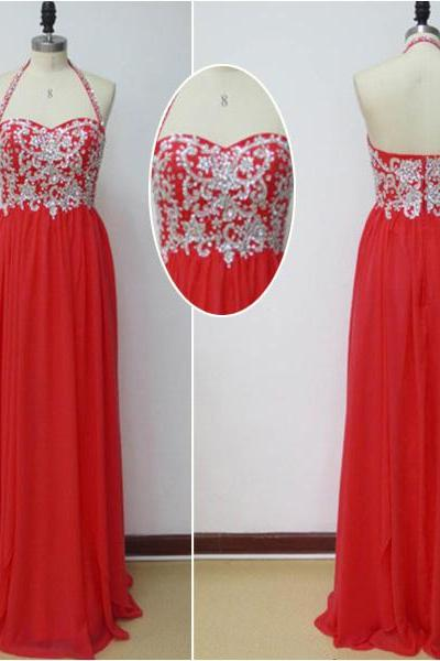 2017 Halter Sweetheart Floor-length Chiffon Dress in Red - Prom Dress, Bridesmaid Dress, Formal Dress
