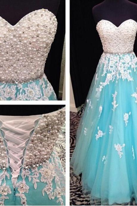 Sexy Sweetheart Floor-length Tulle Beaded Dress - Prom Dress, Bridesmaid Dress, Formal Dress
