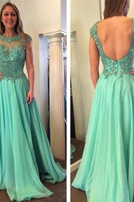 Sexy Chiffon Sheer Neck Light Green A Line Prom Dresses Backless Strapless Court Train Formal Gonws