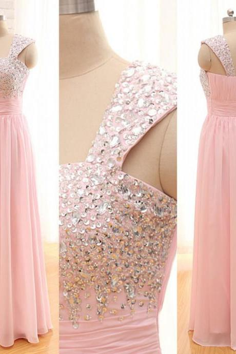 Sexy One Shoulder Beaded Chiffon Formal Dresses,Long Elegant Pink Prom Dresses,