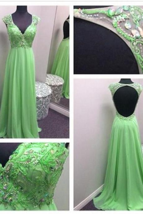 Sexy Women Beaded Formal Dresses Green Chiffon Evening Party Gonws With Beaded Bodice And Open Back