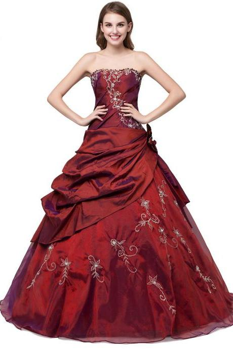Charming Floor Length Burgundy Prom Gown Featuring Embroidered and Beaded Embellished Sweetheart Bodice, Ball Gown, Formal Dresses,Burgundy Quinceanera Dresses, Sweet 16 dresses