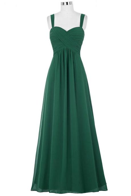 Sexy Chiffon Dark Green Evening Dresses With Spaghetti Straps Long Elegant Ruched Prom Dress Formal Gowns